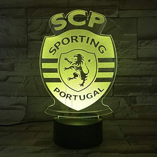 3D Nachtlicht Lissabon Leichtathletik Team Illusion Tischlampe LED 7 Farbe Touch Fernbedienung Farbe Stimmung Lampe USB Home Schlafzimmer Nachttischlampe