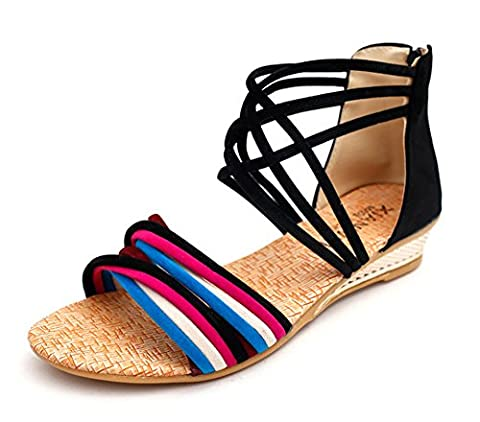 Minetom Damen Sommer Mode Boho Stil Sandals Keilabsatz Gladiator Schuhe Flache Ferse Offene Sandalen Schwarz01 EU (Erwachsen Netzstrumpfhose)