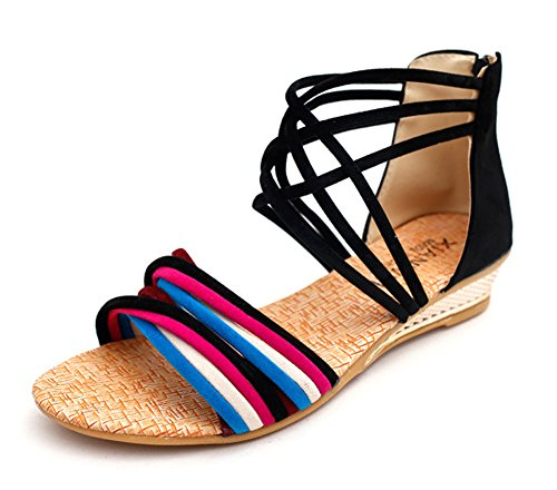 Minetom Damen Sommer Mode Boho Stil Sandals Keilabsatz Gladiator Schuhe Flache Ferse Offene Sandalen Schwarz01 EU 35 (Perlen-sandalen Butterfly)
