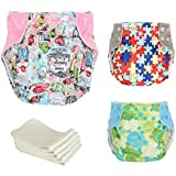 Baby Cloth Diapers Adjustable Reusable Washable For Baby Girls And Boys (3x Colorful Diapers + 5x Inserts)by ZHCH