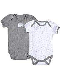 Burt's Bees Unisex Baby Bee Essentials Short-Sleeved Bodysuit 2 Pack Heather Grey