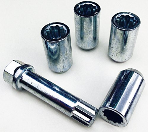 Tuner Écrous de roue en alliage fin à style, plaqué zinc M12 x 1,5 (M12 x 1,5) Fuseau Seat, 17 mm hexagonale étoile Clé. Lot de 4 écrous de roue