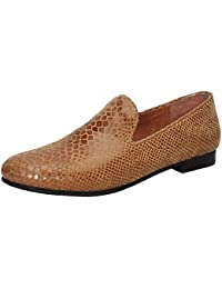 Bareskin Special Men Handmade Tan Leather Slip-on With Snake Print Size