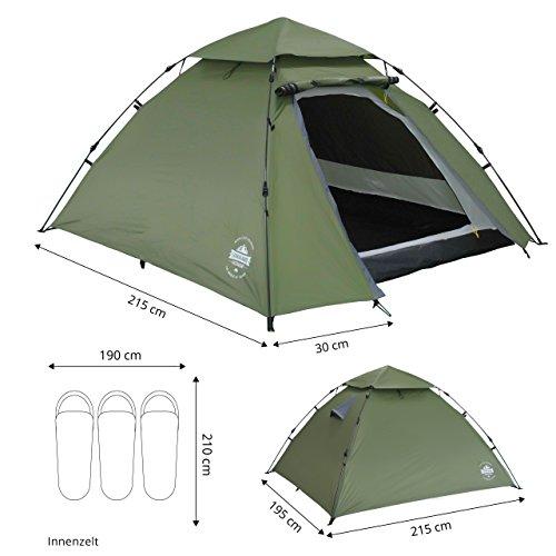 Lumaland Outdoor Pop Up Kuppelzelt Wurfzelt 3 Personen Zelt Camping Festival etc. 215 x 195 x 120 cm robust Grün - 4