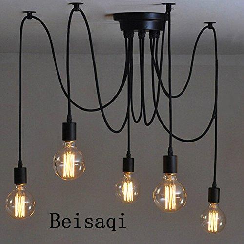 110-220V Vintage Edison Soffitto Apparecchio a Sospensione Industrial Light Lampada Regolabile Lampadario Nero- 5 testa