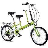OUKANING 20' Bicicleta Plegable, Bicicleta Tándem de 7 Velocidades para Adultos y Niños, Parenting Bicicleta Plegable Acero al Carbono