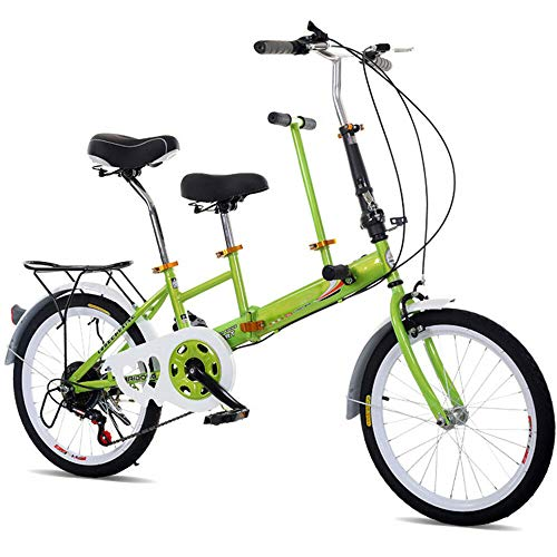 OUKANING 20 Bicicleta Plegable, Bicicleta Tándem de 7 Velocidades para Adultos y Niños, Parenting Bicicleta Plegable Acero al Carbono