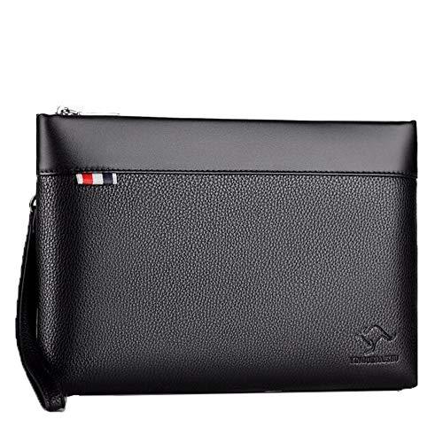 Liuliangmei Männer Kupplung Tasche Bag Leder Business Code Schloss Wallet Handtasche Wrist Tasche Diebstahl Zip rund um Geldbörsen Checkbook Handtasche Kreditkarte Cash,Black -