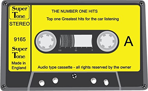 Audio Cassette The Number One Hits Alta Calidad De Coche De Parachoques Etiqueta Engomada 12 x 10 cm