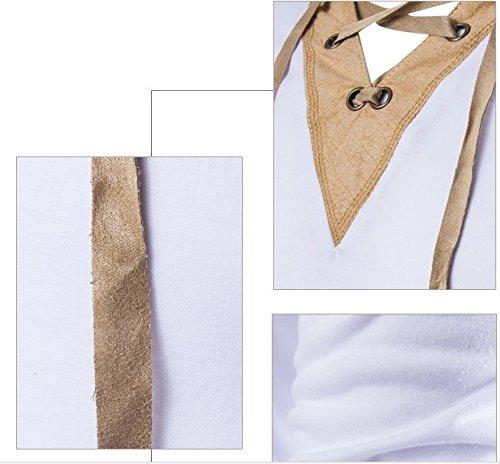 BOMOVO Herren Langarm im Europäischen Stil Langarm Longsleeve Shirt Slim Fit Weiß
