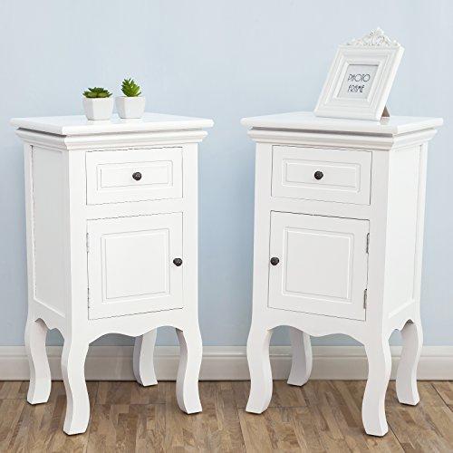 UEnjoy Wood White Bedside Tables Nightstands,Fully Assembled,33cm*30cm*62cm,Set of 2