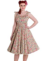 Hell Bunny 50s Style Janine Robe Motif Floral Beige