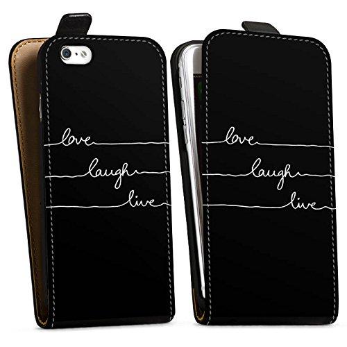 Apple iPhone SE Hülle Premium Case Cover Liebe Lebe Lache Downflip Tasche schwarz