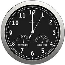 bonVIVO TIMERIDER Reloj de Pared Controlado por Radio, Alta Precisión, Reloj de Pared de Aluminio para Salón, Cocina, Despacho, Reloj de Pared de 30.5 cm, Termómetro e higrómetro integrado
