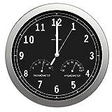 bonVIVO Timerider Horloge Murale Radio-Pilotée Ultra-Précise, Pendule Murale Silencieuse pour Salon/Cuisine/Bureau, Pendule Murale Aluminium avec Thermomètre Et Hygromètre Intégrés - 30,5 cm