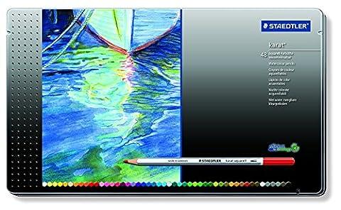 Staedtler crayons de couleur aquarelables karat, haute qualité, miscibilité des couleurs, boîte métal de 48 crayons de couleurs assortis, 125 M48