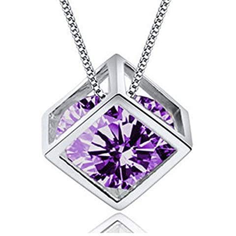 18k White Gold Plate 0.5ct Cubic Zirconia Diamond Cube Pendant Necklace Clear Zircon Women Jewelry