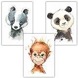 Frechdax® Lot de 3 images pour chambre d'enfant, décoration de jeune fille - Posters animaux DIN A4 - Portraits | Animaux de la forêt Safari Afrique Portrait, 3er Set 'Affe, Dachs, Panda', DIN A4