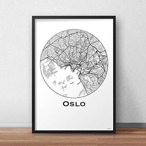 Cartel Oslo Noruega Minimalista Mapa - City Map