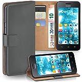 moex Huawei Y330   Hülle Dunkel-Grau mit Karten-Fach 360° Book Klapp-Hülle Handytasche Kunst-Leder Handyhülle für Huawei Ascend Y330 Case Flip Cover Schutzhülle Tasche