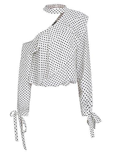 Missy Chilli Damen Oberteile Elegant Schulterfrei Langarm Chiffon Punkte Rüschen Bluse Shirts mit Choker Weiß
