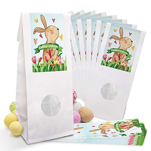 Logbuch-Verlag 10 kleine Ostertüten Papiertüten Kraftpapier weiß mit Fenster Beschichtung 7 x 4 x 20,5 cm Verpackung + Osternest Osteretiketten Frohe Ostern Geschenk Aufkleber bunt rot grün gelb