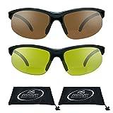 proSPORTsunglasses Semi Sin Rebordes Azul Del Bloqueador De Visión De Hd Bifocales Gafas De Sol (2.00) De Los Hombres Hd + Combo Amarillo