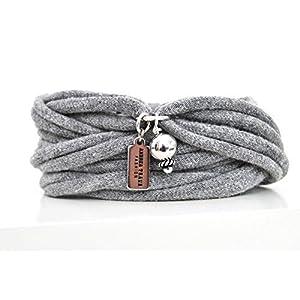 Armband Wickelarmband Stoff grau oder Wunschfarbe 60 Varianten mit Anhänger Perle silber individuelle Geschenke mit Liebe