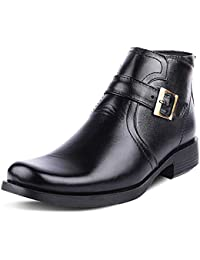 b3ece234ec7 Kanprom Men s Black Genuine Leather Casual Buckle Mid Ankle Zip Boots