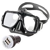 DuraGadget Silikon Taucher- und Schnorchelbrille + 2 USB Auto LADEGERÄT für ROLLEI Youngstar Actioncam, sowie eTTgear PP-J52 Kinder Action Kameras