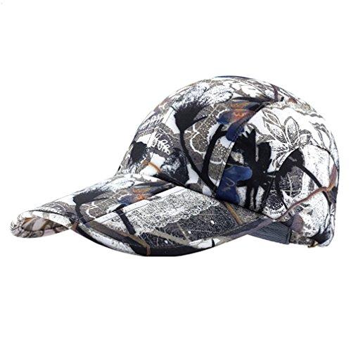 Camo Hat,Sports Cap,UPF50+ Protect Camouflage Hat Sun Hat Adjustable Unisex Lightweight Foldable Sports Cap Pocket Cap Fishing Hat Youth Hat Portable Baseball Cap for Men Women White Dark Grey VM61 (Crown Cap Camouflage)