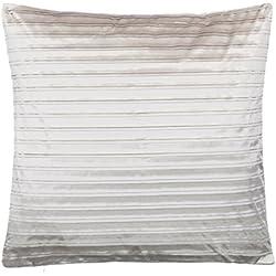 BRAND sseller satén de rayas de cojín sofá–Cojín con relleno agradable y suave–En Varios Colores, poliéster, plata, 39x39 cm