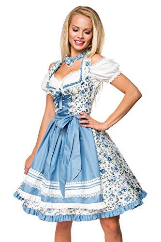 Dirndl Kleid Kostüm mit Herzausschnitt Schleife Schnürung und Schürze aus Blumen Stoff und Spitze Oktoberfest Dirndl weiß/blau S (Traditionelles Dirndl Kostüm)