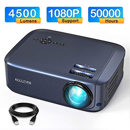 "Video Beamer 4500 Lumen, Projektor unterstützt 1080P Full HD LED 50000 Stunden mit max 200\"" Display für Heimkino Office unterstützt HDMI VGA SD USB AV Gerät"