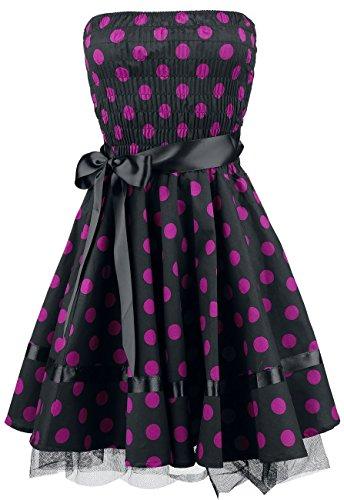 H&R London Big Purple Dots Abito nero/rosa Nero/Rosa