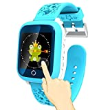 "TURNMEON 1.44"" Touch Screen Smart Watch Kids GPS Tracker with IP65 Waterproof SIM Calls Anti-lost SOS Children Smart Bracelet Finder Safety Monitor with Parent Control App for Universal Smartphone(Blue)"