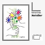 Kunstdruck Poster Bild Pablo Picasso - Bouquet 60 x 80 cm mit MDF-Bilderrahmen Monaco & Acrylglas reflexfrei, viele Farben zur Auswahl, hier Mattsilber
