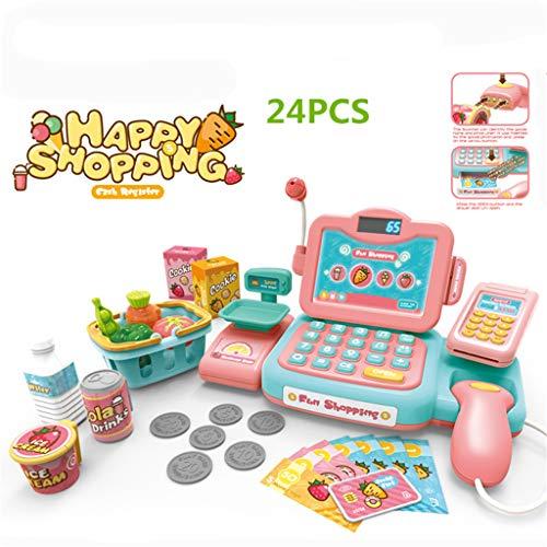 LAOSI Durable Cash Register Toy Pretend Play pädagogisches Spielzeug mit Scanner-Ton-Musik Mikrofon Rechner Spielgeld & Grocery Spielzeug Mädchen-Geschenk