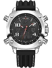 2bbc73373bf1 Marca Weide reloj analógico Digital pantalla LCD FECHA DÍA CRONÓMETRO  alarma negro rojo doble movimiento reloj
