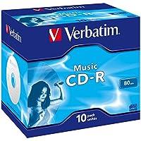 Verbatim Musik CD-R mit 80 Minuten, 16-fache Brenngeschwindigkeit, Rohling zum Daten sichern und brennen, 10 Stück (Case), 43432