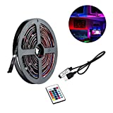 KOBWA Striscia di luci LED, 4* 0.5m (0,5m) con USB 5V TV retroilluminazione 60LED retroilluminazione con Mini Controller per TV Schermo Piatto Fondo, HDTV, Monitor PC