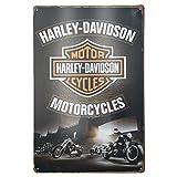 Plaque Metal Decoration Murale Harley Davidson. Affiche Vintage Deco Moto Poster