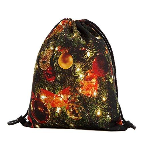 Longra Sacchetto Del Drawstring Della Tasca Bundle Di Stampa Digitale Natale Modo Delle Donne E