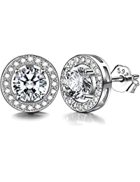 J.SHINE Damen Ohrstecker Ohrringe Set 925 Sterling Silber mit 3A 6mm Zirkonia
