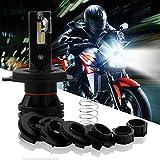 DZG H4 / HS1 LED Lampara de faro para moto con Luz alta/Haz de luz - 35 / 30W 6000K blanco Efecto xenon Halógeno Bulbo Kit de reemplazo Moto Luz delantera, 1 Paquete
