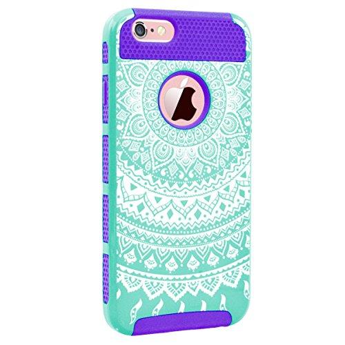 GrandEver Coque iPhone 6s Plus / iPhone 6 Plus [ 2 en 1 ] Mandala Motif Design Silicone Souple Bumper et PC Dur Rigide Couche Double Backcover Etui Housse Case pour iPhone 6 Plus/6s Plus --- Vert Blan Vert Violet