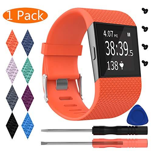 KingAcc Kompatibel Fitbit Surge Armband, Silikon Ersatz Armbänder Armband für Fitbit Surge, Sport Armbandarmband Uhrenarmband Damen Herren (1-Pack, Orange, klein)