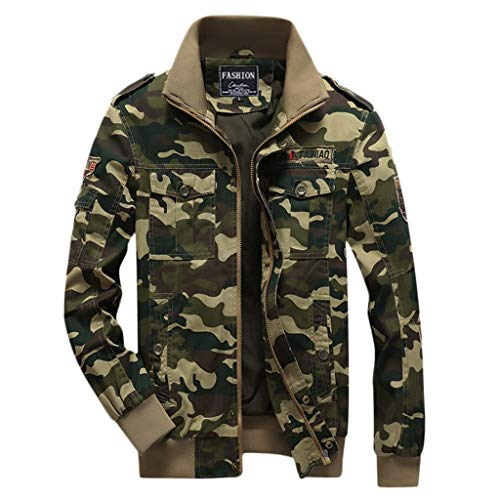 LIMITA Herren Winter verdicken Langarm BomberJacket Camouflage-Mäntel mit Reißverschluss Motorradjacke Baseball Jacke
