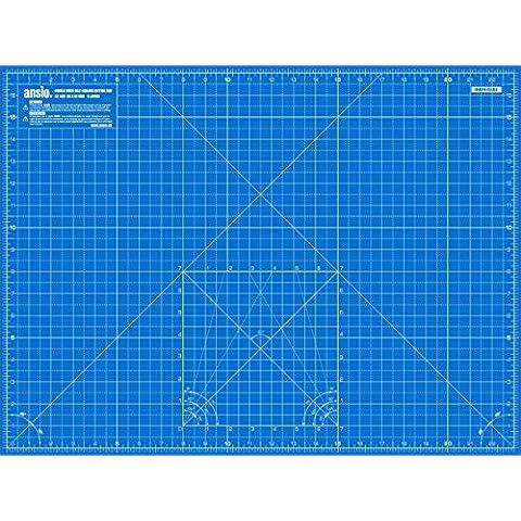 ANSIO A2de doble cara–5capas alfombrilla guía para cortar Imperial/métrica 24pulgadas x 18pulgadas/45CMX 60cm–True azul/cielo azul