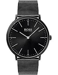 Hugo BOSS 1513542 - Reloj Analógico para Hombre, Mecanismo de Cuarzo, Pulsera en Malla, Acero Inoxidable, Negro